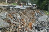 Đường hơn 68 tỷ đồng chưa khánh thành đã nứt toác, sụt lún