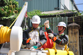 Sát hạch tay nghề cho công nhân đội sửa chữa điện nóng