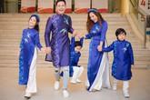 MC Phan Anh trình diễn áo dài cùng vợ và ba con