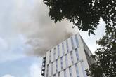 Hà Nội: Công nhân chạy toán loạn vì cháy công trình Trung tâm lưu ký chứng khoán Việt Nam