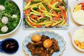 Thực đơn cơm trưa với sườn kho và canh cải ấm lòng ngày gió lạnh