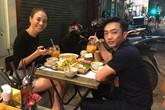 Cường Đô La đón Valentine bên Đàm Thu Trang ở quán vỉa hè