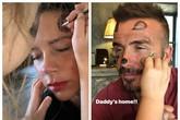 Vợ chồng David Beckham thích thú vì được con gái Harper trang điểm