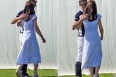 Công nương Kate ôm hôn bạn của chồng trên sân cỏ