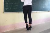 Tích cực chuẩn bị cho buổi diễn thời trang, nam sinh đi giày cao gót 15cm lên bảng giải bài tập