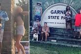 Cô gái lạ 'khoe ngực' phá hỏng bức ảnh gia đình ở Mỹ