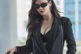 """Diện cây đồ đen cực ngầu, Trương Quỳnh Anh vẫn khoe khéo vòng 1 khiến fan """"trông mòn con mắt"""""""