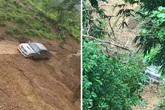 Hoảng hồn chứng kiến cảnh xe bán tải bị đất lở rơi xuống vực sâu ở Sơn La