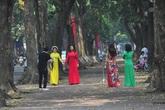 Hà Nội: Hết cách ly xã hội, phố Phan Đình Phùng lại tấp nập chị em đi chụp lá vàng rơi