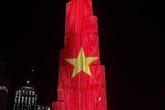 Tháp cao nhất thế giới thắp sáng cờ Việt Nam mừng quốc khánh