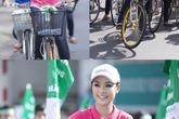 Dù đi xe đạp, kiều nữ Việt vẫn không kém phần xinh đẹp
