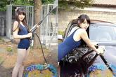 Ngắm thiếu nữ xinh đẹp mặc đồ bơi rửa xe
