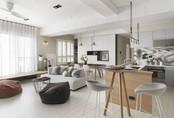 Căn hộ đẹp tinh tế dù tích hợp không gian phòng khách và bếp nấu