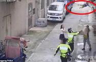 """Khoảnh khắc cảnh sát và người đi đường dùng chiếu """"hứng"""" được bé trai lơ lửng trên dây điện rồi rơi xuống"""
