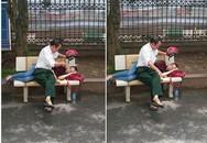 Bức ảnh người cha che nắng cho con gái giữa trưa khiến nhiều người xúc động