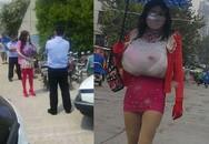 Người đàn ông mặc váy, độn ngực giả mò vào nhà vệ sinh nữ