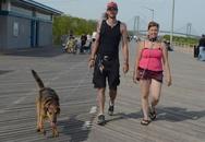 Chàng trai xích cổ, dắt bạn gái đi dạo cùng chó