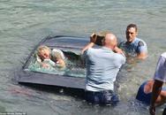 Nghẹt thở cảnh sát giải cứu một phụ nữ chìm theo xe BMW
