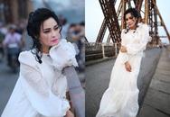 """Dân mạng """"dậy sóng"""" với bộ ảnh Thanh Lam mặc áo trắng toát đứng trên cầu Long Biên"""
