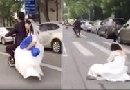 Chú rể lái xe máy điện, đánh rơi cô dâu mà không biết