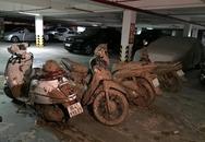 Bùn đất tràn vào chung cư, vùi lấp nhiều xe máy ở Sài Gòn