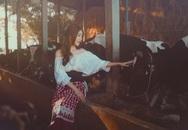Elly Trần hóa Lọ Lem trong trang trại nuôi bò