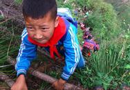 Xôn xao ảnh trẻ em Trung Quốc leo núi dựng đứng đến trường