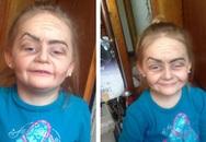 Bé 3 tuổi gây sốt vì trang điểm thành bà lão