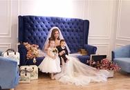 Elly Trần gây xôn xao khi khoe ảnh mặc váy cưới bên 2 con