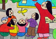 Long An: Con trẻ vẽ ước mơ về thế giới không khói thuốc