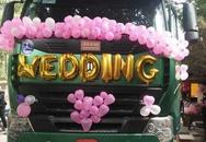 """Dân cư mạng xôn xao với màn rước dâu bằng xe đầu kéo """"cực độc"""" ở Thái Nguyên"""