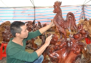 """""""Thần Kê"""" làm bằng gỗ gụ hương hút khách mua chơi Tết"""