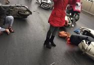 Hàng chục xe máy đang đổ la liệt trong hầm chui Kim Liên