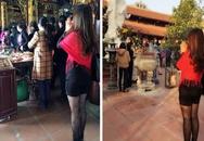Đỏ mặt hình ảnh phản cảm thiếu nữ lễ chùa đầu năm