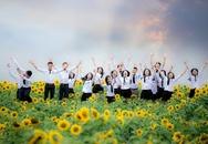 Học sinh xứ Nghệ tạo dáng trên cánh đồng hoa hướng dương