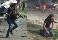 Phóng viên quỳ khóc bên em bé Syria bị đánh bom khi đang sơ tán