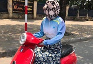 Chiêu chống nắng 'quái dị' của người phụ nữ trên phố Hà Nội