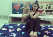 Trương Quỳnh Anh gặp ý kiến trái chiều vì vừa bế trẻ nhỏ vừa tập thể dục