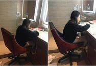 Phương Mỹ Chi ngồi học trong toilet của khách sạn