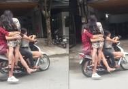 Xôn xao cảnh 5 kiều nữ đầu trần đu bám trên chiếc xe máy lao vun vút ở Hà Nội