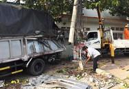 Ôtô đầu kéo container đâm gãy trụ điện rồi tông vào nhà dân