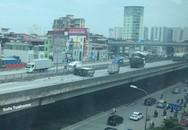 Xe tải lật chắn ngang đường trên cao tốc trên cao, nam tài xế nhập viện cấp cứu