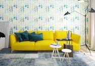 Phòng khách có nội thất màu vàng chóe đẹp khó rời mắt
