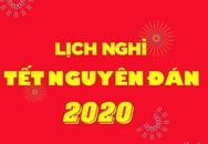 Lịch nghỉ Tết Nguyên đán chính thức năm 2020
