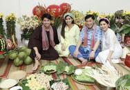 Cựu diễn viên Thủy Tiên cùng chồng đại gia dạy con gói bánh chưng