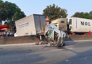 Xe container tông nhiều ôtô dừng đèn đỏ, quốc lộ 1A ách tắc