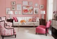 Phòng khách màu hồng giúp gia chủ như luôn được sống trong không gian ấm áp