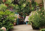 Khu vườn rực rỡ như xứ sở thần tiên của cô gái xinh đẹp với đủ loại hoa khoe sắc