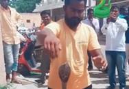 Xem người đàn ông tay không bắt rắn hổ mang vọt ra từ đuôi xe máy