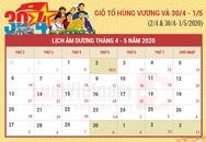 Lịch nghỉ lễ Giỗ tổ Hùng Vương và 30/4 - 1/5